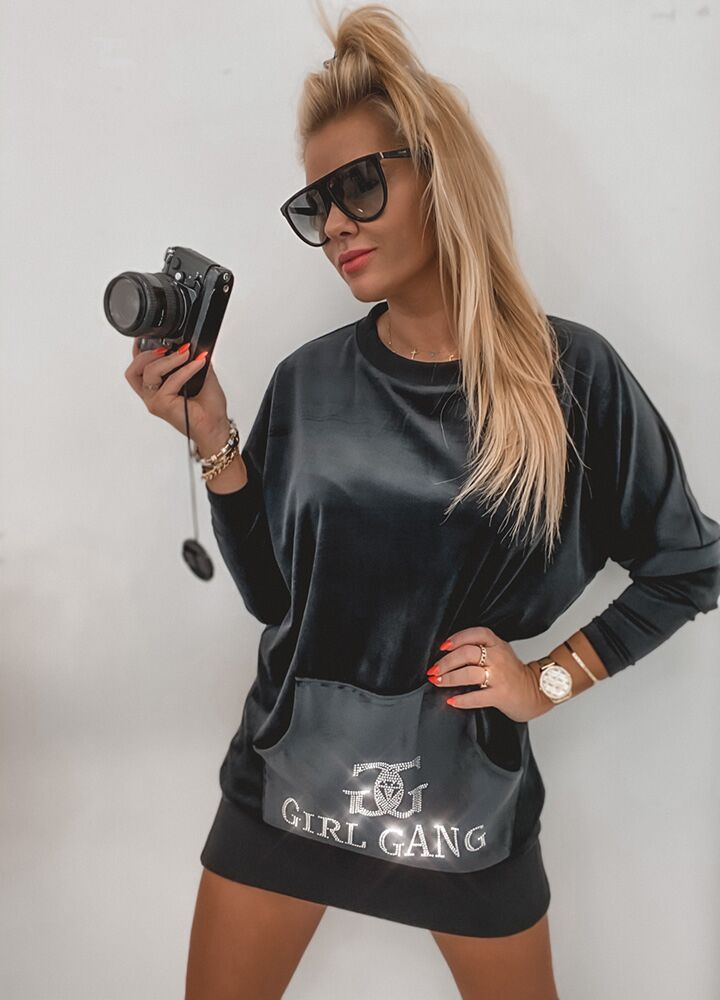 ZJAWISKOWA TUNIKA WELUROWA GIRL GANG BLACK