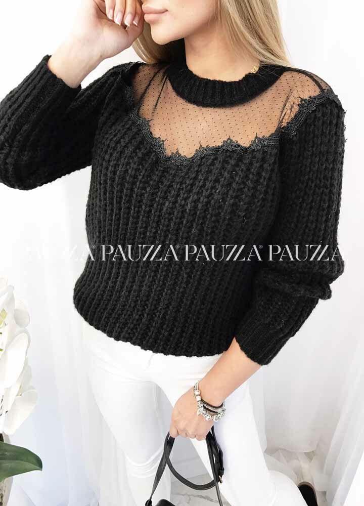 Sale % mięciutki sweterek black dekolt siateczka