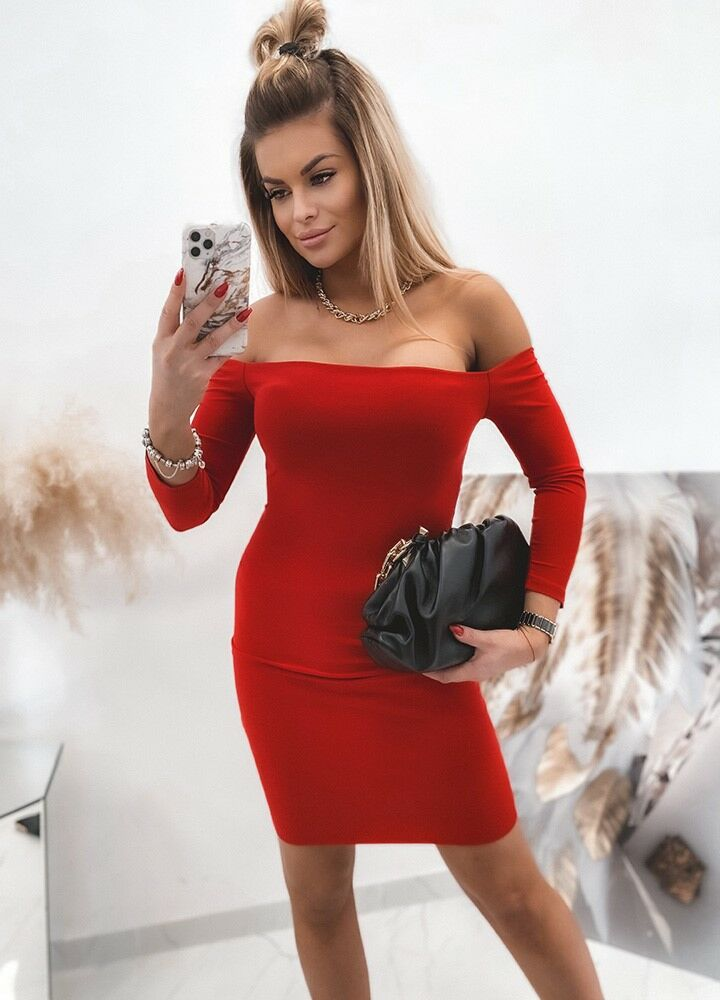 SUKIENKA RED MIDI DRESS