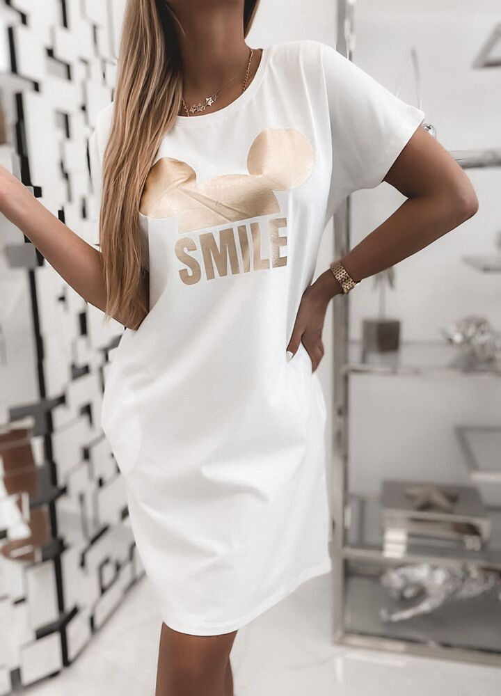 BAWEŁNIANA TUNIKA SMILE ECRU