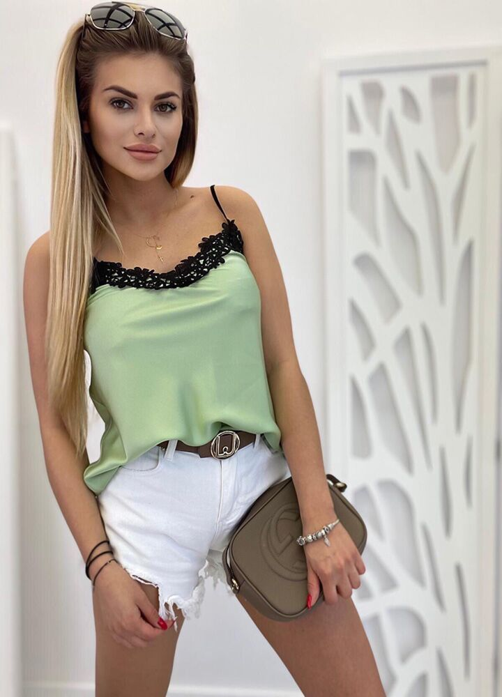 ZJAWISKOWY TOP LACE OLIVE
