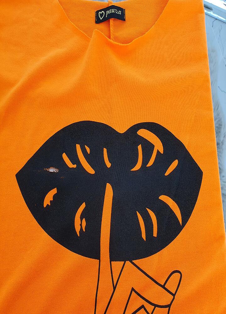 Sale % nowoczesna zjawiskowa bawełniana bluzka lips neon orange
