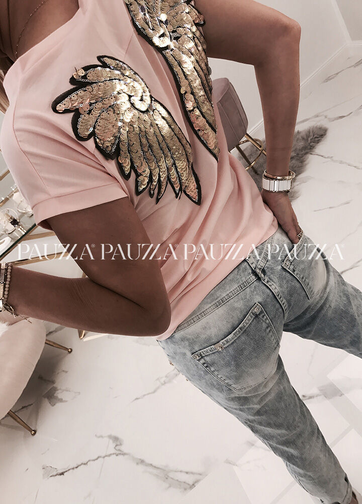Urocza bluzka v-neck angel's wings cekiny light pink