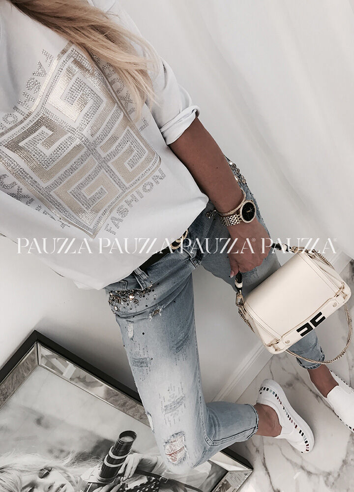 Perfect style zjawiskowa bluzka white fashion lampas
