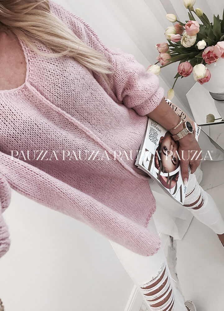 Sale % perfect style asymetryczny sweterek italy candy pink