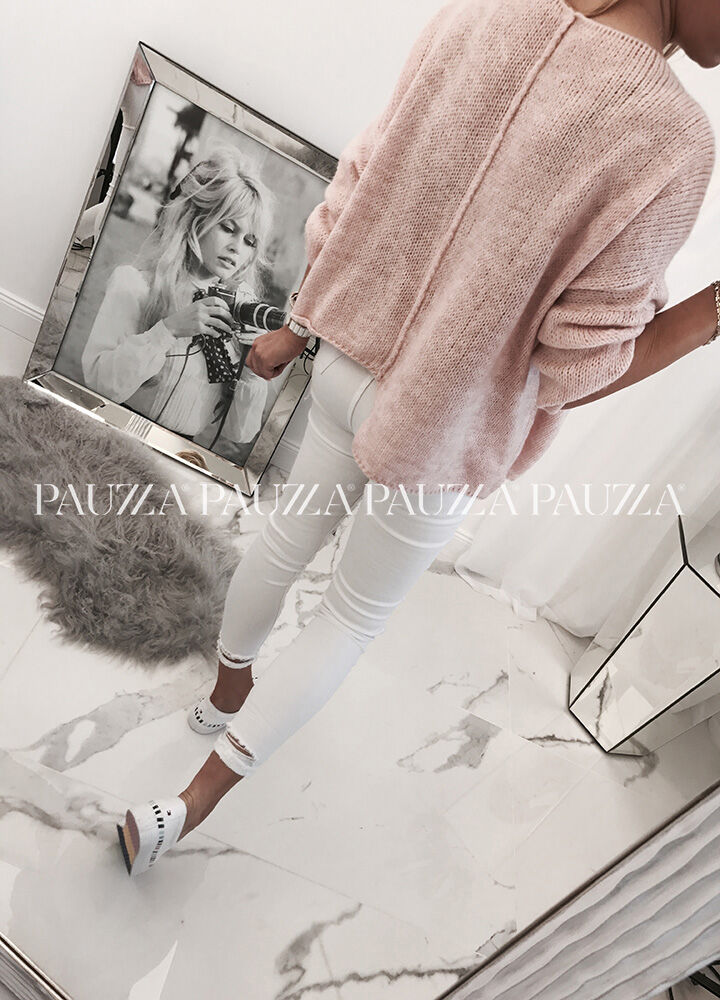 Sale % perfect style asymetryczny sweterek italy light pink