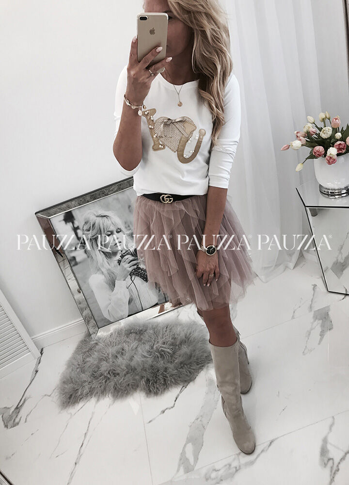 Cool fashion fantastyczna bluzka i love you white cekiny