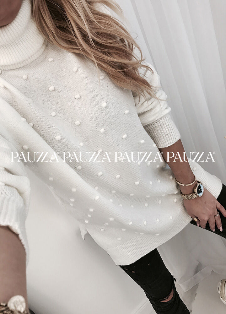 Sale % perfect style zjawiskowy sweterek golf dots bianco