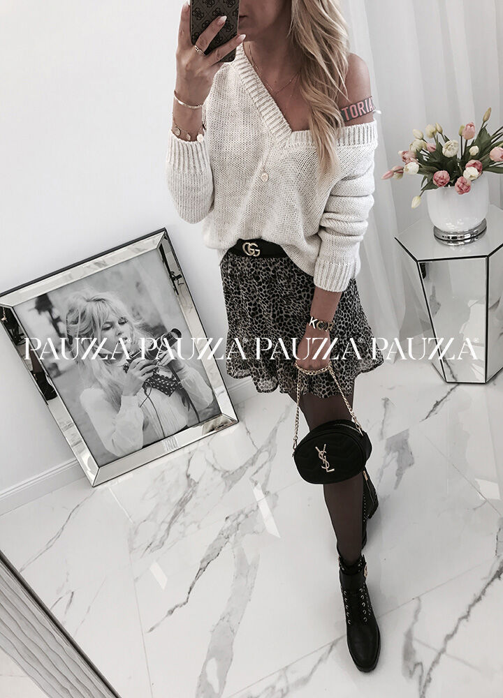 Sale % unique fantastyczny sweter light beige me gusta dekolt v