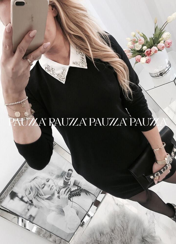 New look rewelacyjna bawełniana tunika pauzza sukienka black kołnierz kamienie