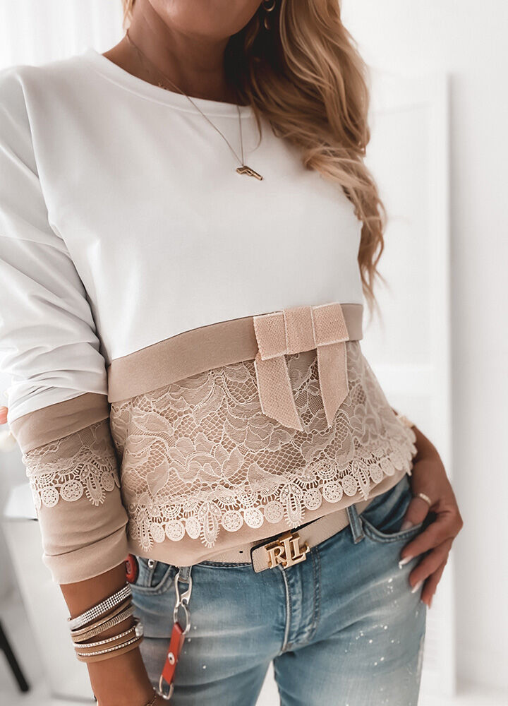 Bluza lace white and beige