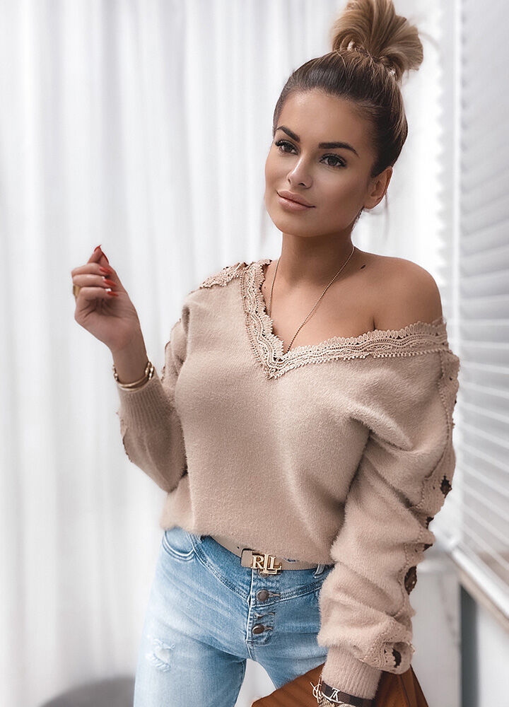 BEŻOWY SWETEREK LACE SOFT