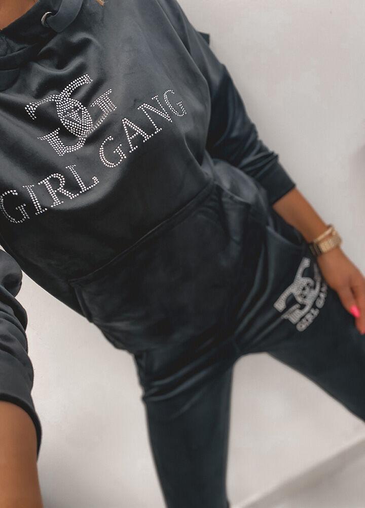 WELUROWY KOMPLET DRESOWY BLACK GIRL GANG